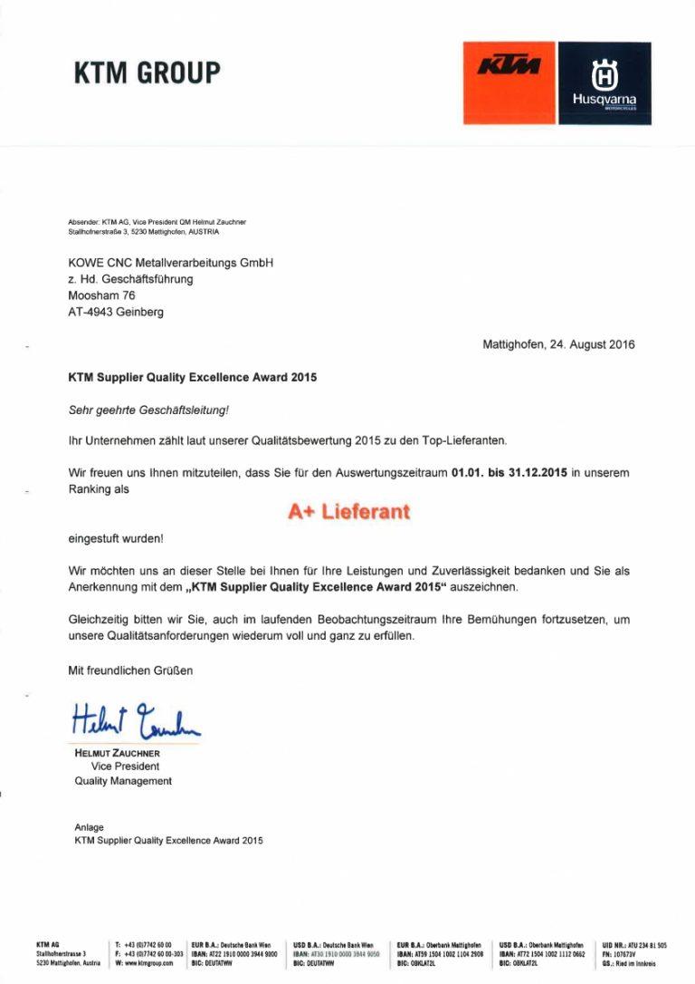A+ Lieferant bei der KTM Group   KOWE CNC GmbH